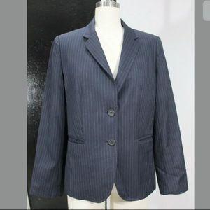 Womens p10 Wool J crew blazer striped work career
